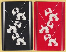 2 Single VINTAGE Swap/Playing Cards DOGS ON LEADS DECO Silhouette