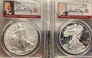 $1 2016 W Silver Eagles PCGS PR70 Pop.300/SP70 Pop.280 Signed By E.Moy