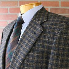 Chester Barrie Hand Tailored Navy Brown Plaid Sportcoat 100% Wool England 40R