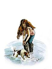 print of original ink & watercolour painting Little girl & dog wall art