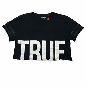 True Religion Mesh Short Sleeve TRUE Logo Cropped Tee Black Womens L Large