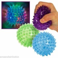 6 x FLASHING BALL SPIKEY MASSAGE BOUNCE LIGHT SENSORY FLASHING SQUEAKER