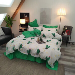 Cactus White Comfort Bedding Set Duvet Quilt Cover+Sheet+Pillow Case Four-Piece