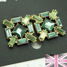 Retro Vintage Antiguo Estilo Aqua Oro Con Estrás Pendientes Moda Tachuelas Verde