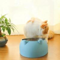 400ml Cat Bowl Raised No Slip Steel Tilted Pet Supplies Feeder K0E5