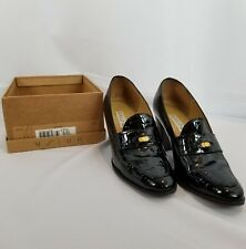 Pre-Owned Unisa Black Genuine Leather Penny Loafer Heels 8B