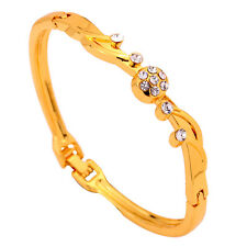 Fashion Design Crystal Inlay 9K Yellow Gold Filled Bracelet Bangle Jewelry Lady