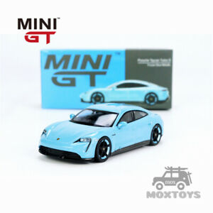 MINI GT 1:64 Porsche Taycan Turbo S Frozen LHD/RHD Blue Metallic Model Car