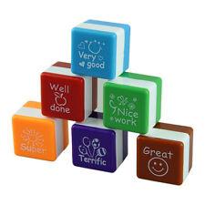 School Teachers Self Inking Praise Reward Stamps 6Pcs Cute Cartoon Kids Stamps