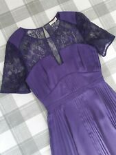 Whistles Purple Lace Pleated Fitted Summer Party Dress UK 8 EU 36 USA 4