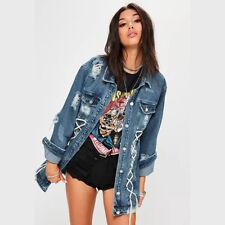 NEW DENIM JACKET WOMENS cowboy hole Hip hop Jean jacket LADIES Stonewash 6 8 10