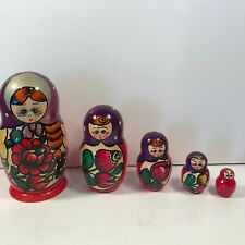 Vintage Russian Nesting Dolls Folklore Art Set of 5