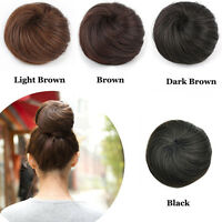 Clip In On 100% Human Hair Straight Drawstring Buns Chignon Updo Cover Extension