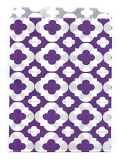 25 Pcs Medium Purple Flower Pattern 5x7 Print Paper Gift Bags Favor Candy Shop