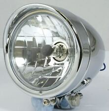 Bike It Bullet 4 1/2 Motorcycle Headlight Chrome H4 Halogen-Bulb H4 12V 60/55W