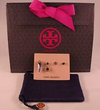 NWT Authentic TORY BURCH Charm Mismatched Earrings Set of 4 in Blue & Gold $150