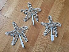 Starfish- White Wire Decorative Hooks-Set Of 3