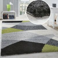 Multi Colour Rug Black White Grey and Green Patterned Carpet Fluffy Shaggy Mat