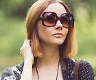 Women Oversized Sunglasses Retro Vintage Fashion Brown Jackie O Style