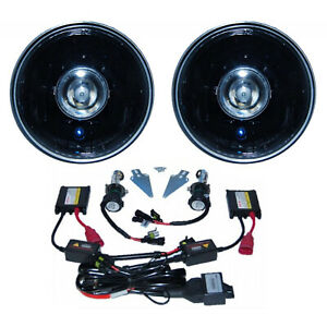 "7"" Black Projector Crystal Clear Glass Headlight Lamp HID 6000K Light Bulb Pair"
