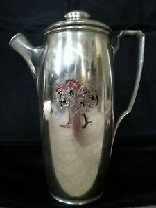 MERIDEN SILVER PLATE NO 359C COCKTAIL SHAKER WITH ENAMEL ROOSTER