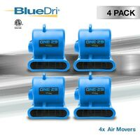 4 Pack BlueDri ONE-29 Air Mover Carpet Floor Blower Fan for Water Damage, Blue
