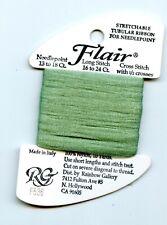 Rainbow Gallery Flair F536 Lite Sea Green Stretchable Tubular Ribbon Needlepoint