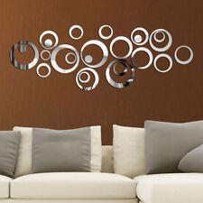 24pcs Kreis 3D Spiegel Wandtattoo Wanddeko Wanddekoration Zimmer Aufkleber