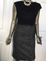 ESCADA black Sheath Dress lace covered wool  size 40/US 10