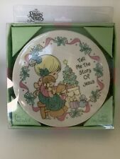 1994 Precious Moments Porcelain Plate With Easel Tell Me The Story Of Jesus Nos