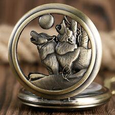 Retro Bronze Wolf Dog Moon Pendant Quartz Pocket Watch Necklace Men Women Gift