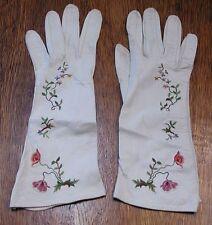 Vintage Kidskin Gloves, Embroidered Flowers & Vines, Made in France, Size 6-3/4