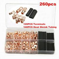 260pc Boxed Copper Lugs Ring Terminals Crimp Connectors w/Black Heat Shrink Tube