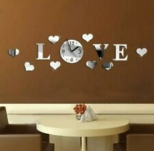 DIY 3D Love Wall Clock Crystal Mirror Living Room Stickers Home Decal Art Decor