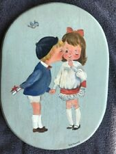 Folk Art Painting Of Two Children & A Bird On Wood. Signed Betty Hanaway