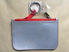 Marc Jacobs Reflective Small Pouch, Zipper, & Ring, Color:Silver, Red Zipper