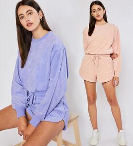 Reflex Women Lounge Outfit Terry Cloth Sweat Shorts & Sweatshirt Set Casual Gym