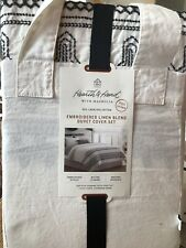 NEW Hearth & Hand with Magnolia Full/Queen Embroidered Linen Duvet Cover Set 3pc