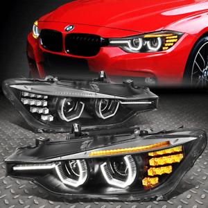 [3D LED U-HALO DRL]FOR 12-16 BMW 3-SERIES F30 F31 PROJECTOR HEADLIGHT LAMP BLACK