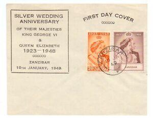 ZANZIBAR 1948 SILVER WEDDING ( 2 ) USED ON UNADDRESSED FIRST DAY COVER