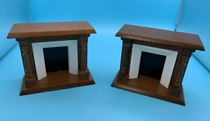 DOLLS' HOUSE MINIATURES - TWO X SIMILAR FIREPLACES - 12th SCALE
