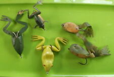"""New listing Lot Of 5 Vintage Unbranded """"Frog"""" Fishing Lures Ass'T Sizes And Colors Used"""