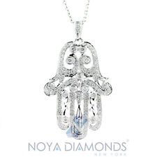0.59 CARAT F VS2 DIAMOND HAMSA PENDANT SET IN 18K WHITE GOLD