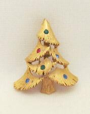 VINTAGE 1950 60 MOD SIGNED J.J. JONETTE JEWELRY CHRISTMAS TREE BROOCH RHINESTONE