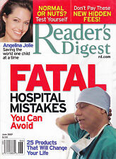 Magazine Reader's Digest June 2007 Angelina Jolie Fatal Hospital Mistakes Avoid