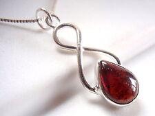 Infinity Hoop Signifies Eternal Love Garnet Necklace 925 Sterling Silver w/