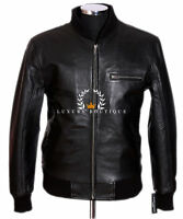 70's Classic Bomber Black Men's Smart Vintage Real Soft Lambskin Leather Jacket