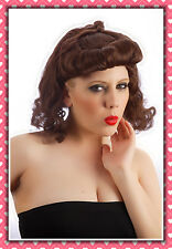 40's 50's Womens Auburn Ginger Pin Up Girl Wartime Wig Accessory Fancy Dress