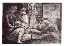 PABLO PICASSO-Cuatro mujeres desnudas y cabeza esculpida  -28x22 cm-1956-COA