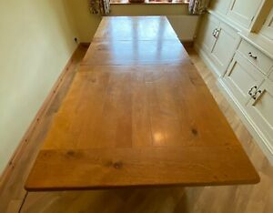 Solid oak, French farmhouse extendable dining table, seats 8-10